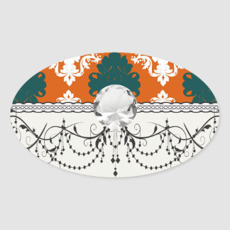 tangy orange teal white damask pattern oval sticker