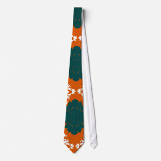 tangy orange teal white damask pattern tie