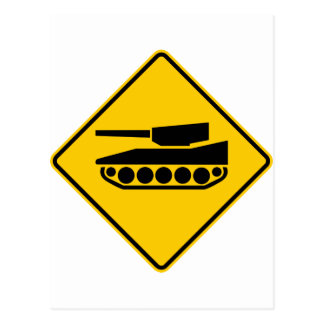 Tank Crossing Highway Sign Post Card