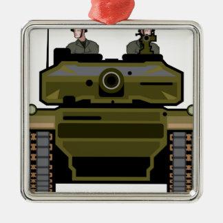 Tank Front Silver-Colored Square Decoration