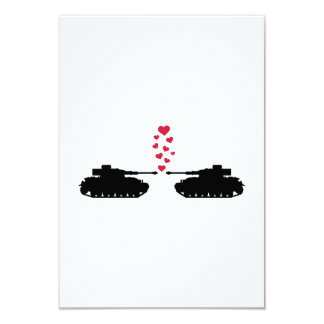 Tank love red hearts 9 cm x 13 cm invitation card