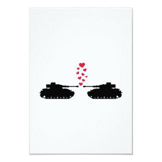 Tank love red hearts 9 cm x 13 cm invitation card