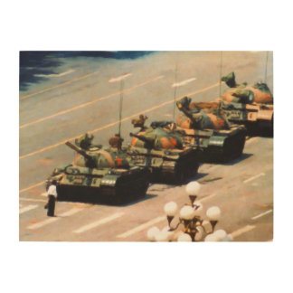 Tank Man Painting Wood Wall Art