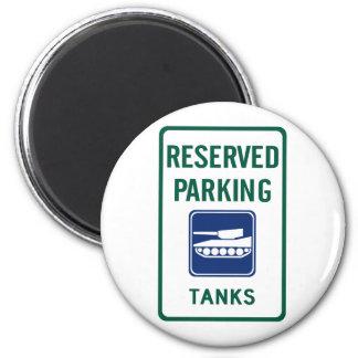 Tank Parking Highway Sign 6 Cm Round Magnet