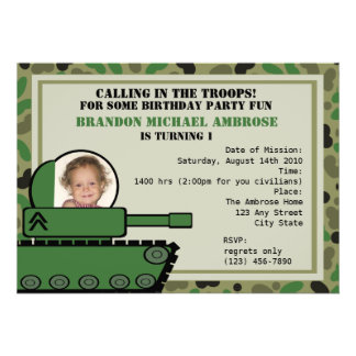 Tank Party Birthday/ Photo Personalized Invitations