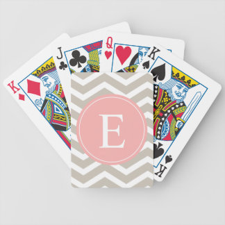 Tank Peach Pink Chevron Monogram Bicycle Playing Cards