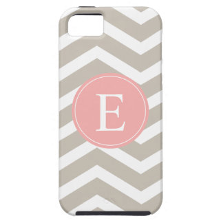 Tank Peach Pink Chevron Monogram Case For The iPhone 5