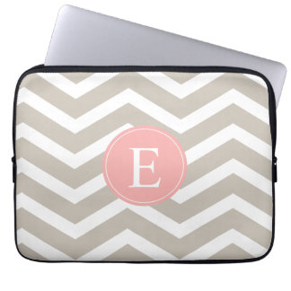 Tank Peach Pink Chevron Monogram Laptop Sleeves