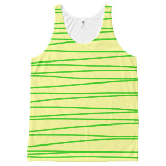 Tank Top Vest with Green Stripes All-Over Print Tank Top