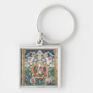 Tanka of Padmasambhava, c.749 AD Silver-Colored Square Key Ring
