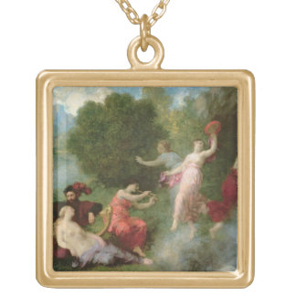 Tannhauser on the Venusberg, 1864 (oil on canvas) Gold Plated Necklace