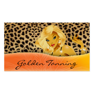 Tanning Business Card Blonde Leopard Orange Yellow
