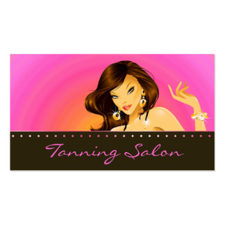 Tanning Business Card Pink Orange Woman Dark