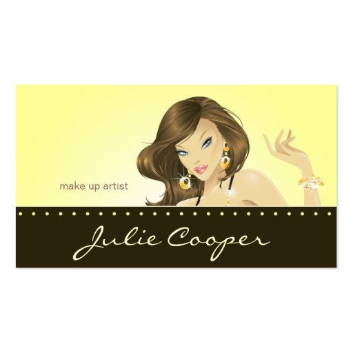 Tanning Business Card Yellow Woman