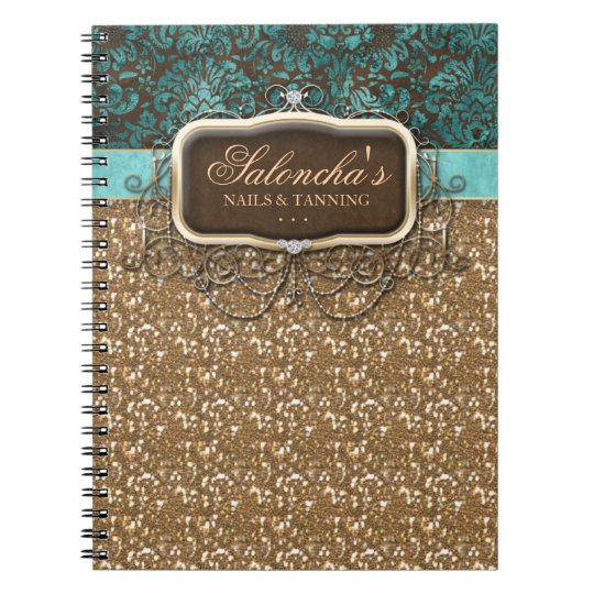 Tanning Fashion Real Estate Chandelier Glitter Notebook