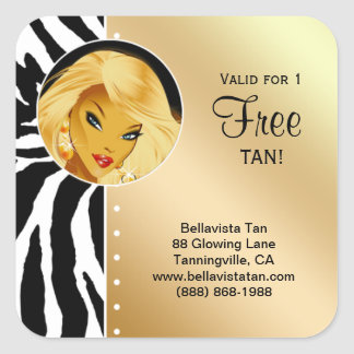 Tanning Salon Sticker Gold Zebra Blonde Woman