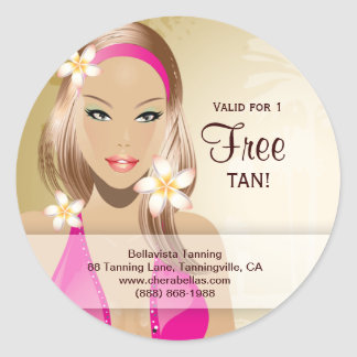 Tanning Salon Sticker Pink Bikini Woman Gold