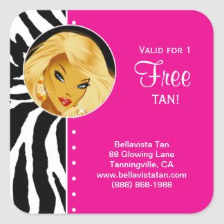 Tanning Salon Sticker Pink Zebra Blonde Woman
