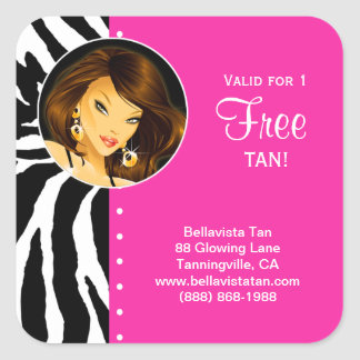 Tanning Salon Sticker Pink Zebra Brunette Woman