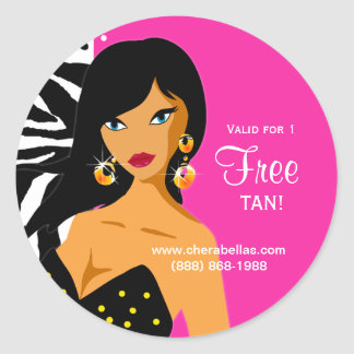 Tanning Salon Sticker Pink Zebra Ethnic Woman