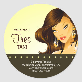 Tanning Salon Sticker Yellow Exotic Brunette Woman