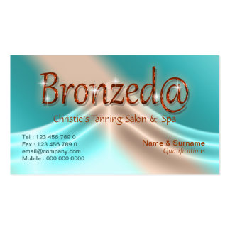Tanning salon summer aqua bronze business card