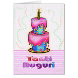 Tanti Auguri Italian Happy Birthday Cake pink blue Greeting Card