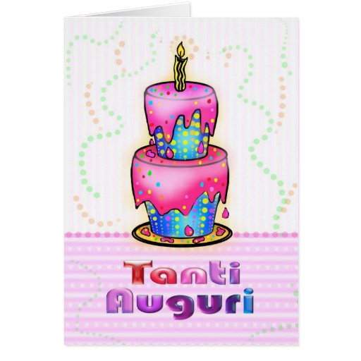Tanti Auguri Italian Happy Birthday Cake pink blue Greeting Card