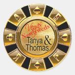 Tanya & Thomas Las Vegas Casino Chip black/gold Round Sticker