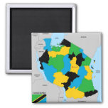 Tanzania country political map flag refrigerator magnets