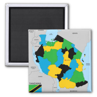 Tanzania country political map flag square magnet