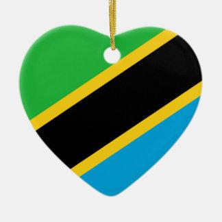 Tanzania Flag Heart Christmas Ornament