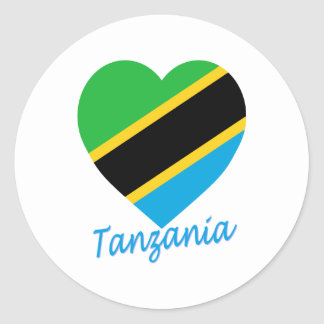 Tanzania Flag Heart Classic Round Sticker
