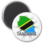 Tanzania Flag Map 2.0 6 Cm Round Magnet