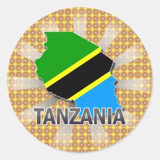Tanzania Flag Map 2.0 Classic Round Sticker