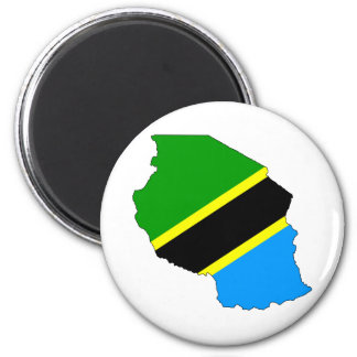 Tanzania Flag Map full size 6 Cm Round Magnet