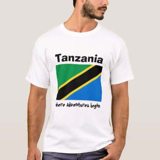 Tanzania Flag + Map + Text T-Shirt