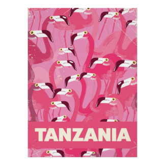 Tanzania Flamingos retro travel poster