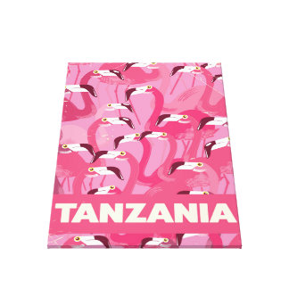 Tanzania Flamingos retro travel poster Canvas Print