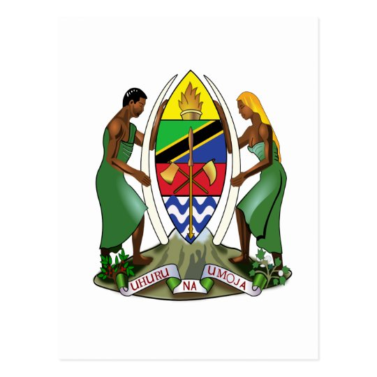 Tanzania Official Coat Of Arms Heraldry Symbol Postcard