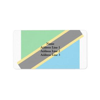 Tanzania, Tajikistan flag Address Label