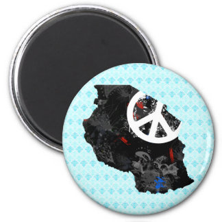 Tanzania Trendy Peace Sign with Tanzanian map 6 Cm Round Magnet