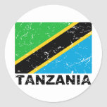 Tanzania Vintage Flag Classic Round Sticker
