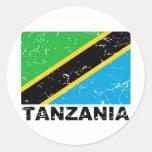Tanzania Vintage Flag Stickers