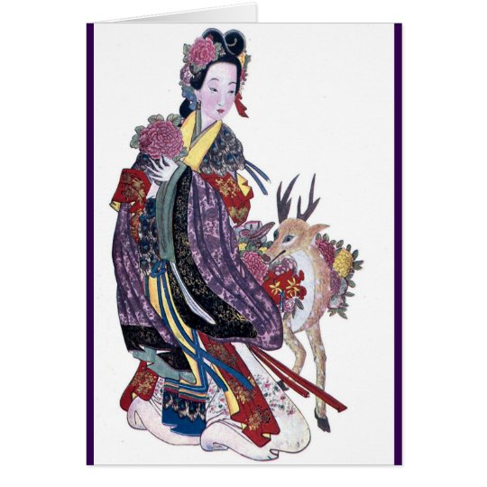 Taoist Fairy Mo-Ku-Hsien and Deer Card