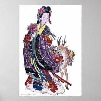 Taoist Fairy Mo-Ku-Hsien and Deer Poster