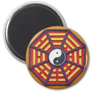 Taoist Octagonal Symbol in Bright Colors 6 Cm Round Magnet
