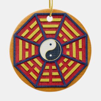 Taoist Octagonal Symbol in Bright Colors Round Ceramic Decoration