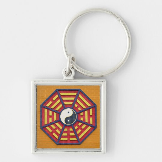 Taoist Octagonal Symbol in Bright Colours Silver-Colored Square Key Ring