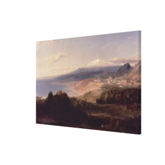 Taormina and Mount Etna, c.1840 (oil on canvas) Canvas Print